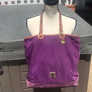 Dooney & Burke large purple bag with suede trim